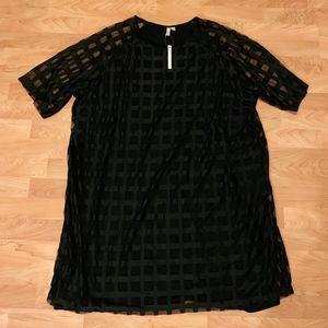 NWT Asos Windowpane Dress with See Through Sleeves